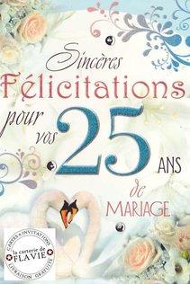 Carte Anniversaire De Mariage 25 Ans Ref Fg95a